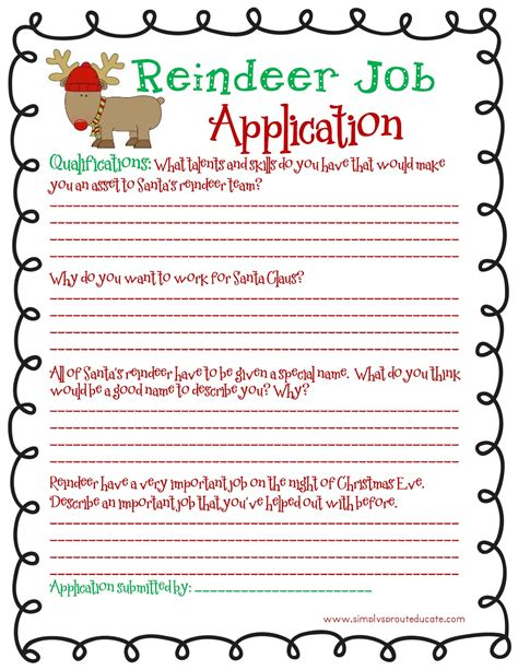 printable reindeer application month of joy reindeer wanted s