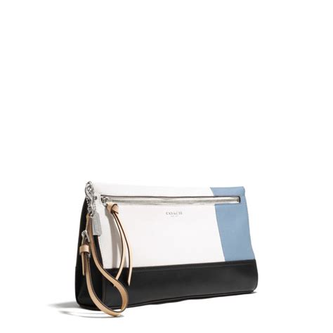 couch clutch coach bleecker large clutch in colorblock leather in blue