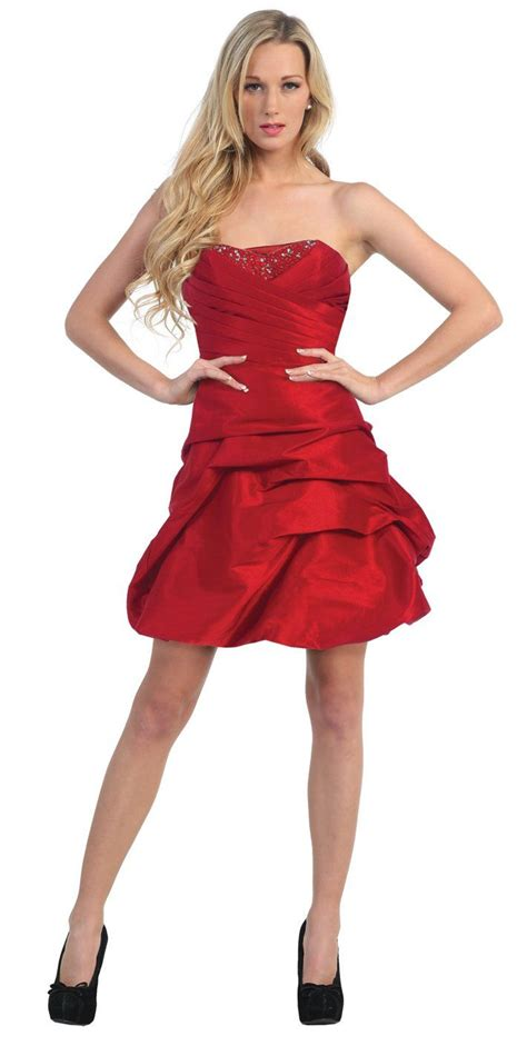 prom dress upskirt red prom gown short hiked up skirt strapless taffeta