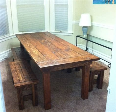 Farmhouse Kitchen Table With Bench White Farm House Table And Benches Diy Projects