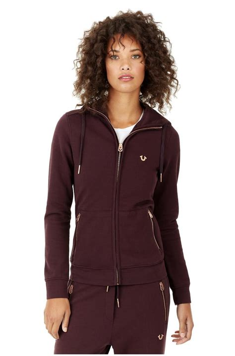 Hoodie Zipper Kombinasi Zem Clothing womens true religion clothing slim zip up hoodie plum 187 stc nyc