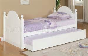 Girls Twin Trundle Bed White Finish Twin Size Kids Bed W Trundle