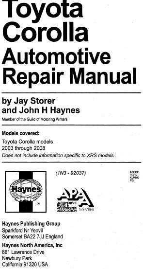 car repair manuals online pdf 1992 toyota corolla electronic valve timing haynes manual toyota corolla 2003 2008 pdf eng download