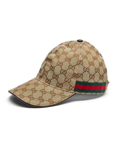 gucci canvas baseball hat in brown for lyst