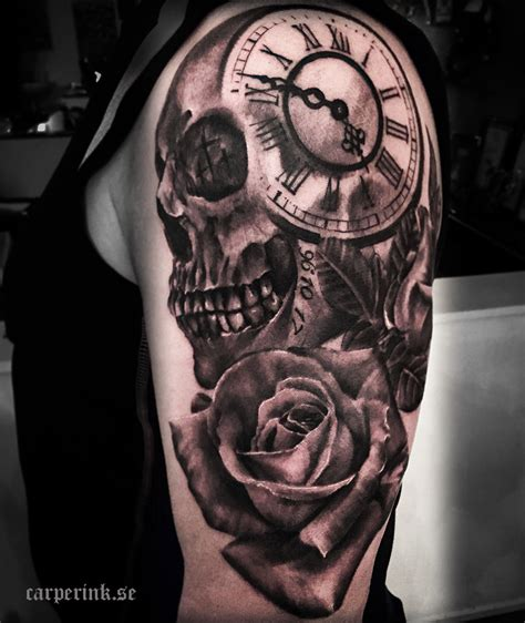skull and rose tattoo for men 25 awesome clock tattoos for and awesome tat