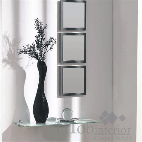 decoracion con espejos y repisas repisa recibidor de cristal con 3 espejos mobinterior