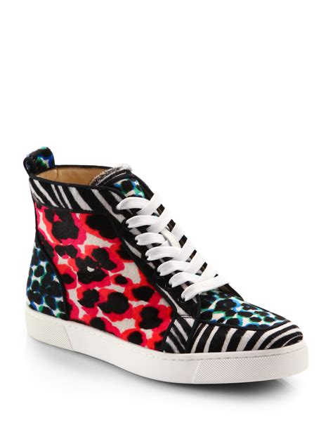 pony hair sneakers christian louboutin animalprint pony hair hightop sneakers