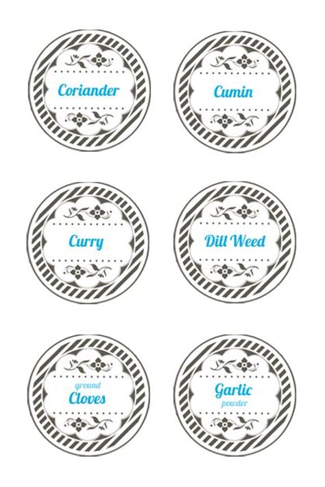 spice jar lid labels mason jar label templates spice
