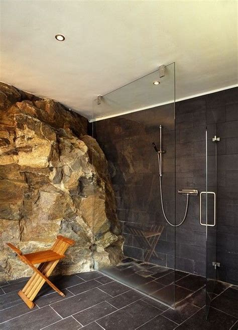 bathroom rock wall shower juxtaposed to a rock wall new home pinterest