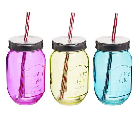 verres en forme de bocaux avec paille dans le couvercle by maisons du monde bocaux en verre