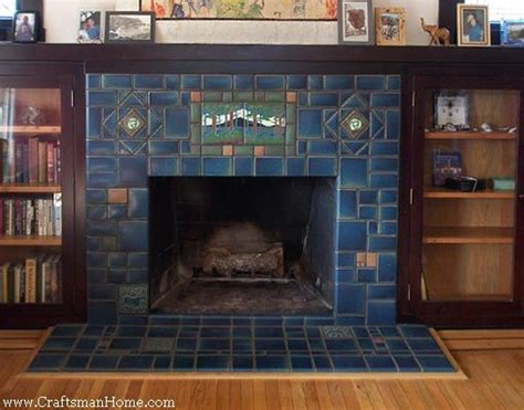 blue tile w cabinets craftsman style
