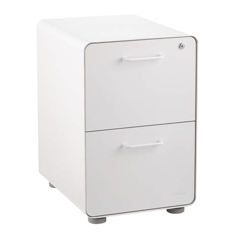 poppin white 2 drawer locking stow filing cabinet the
