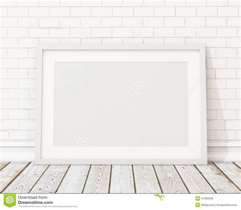 wall post template mock up blank white horizontal picture frame on the white