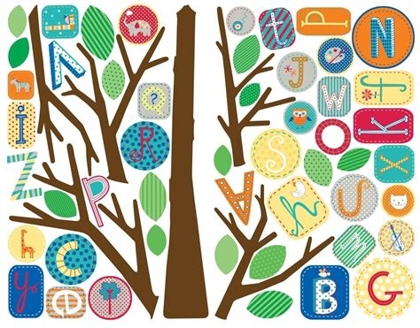 alphabet wall mural new alphabet tree wall decals mural abc trees baby nursery stickers decor ebay