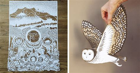 masterful paper cutting art  emily hogarth demilked