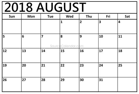 printable calendar 2018 august printable august 2018 calendar template pdf download with