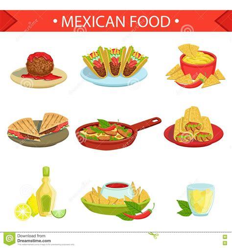 illustration cuisine food dishes illustration set stock vector