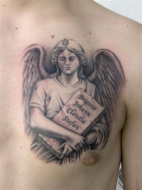 angel tattoos on chest 25 cool guardian tattoos creativefan