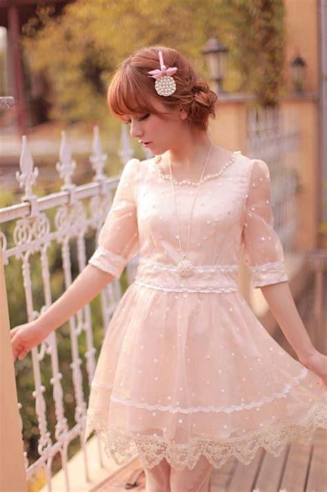Pink Sweet Lace Dress 17835 sweet gyaru light pink chiffon dress with white