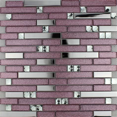 purple glass mosaic tile backsplash silver stainless steel