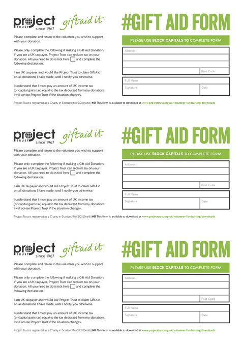 gift aid receipt template downloads project trust