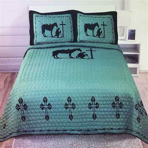 cowboy bedding texas cross praying cowboy western quilt bedspread