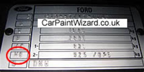 ford focus paint code location uk