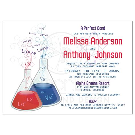 card lab wedding invitations bond chemistry wedding invitation