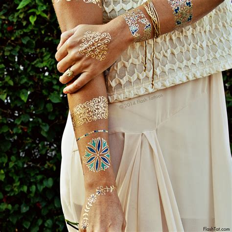 temporary metallic tattoos flash tattoos temporary tattoos in gold and blue floral