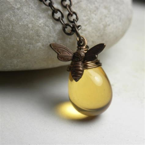 honey necklace honey bee necklace bumble bee charm necklace bee jewelry