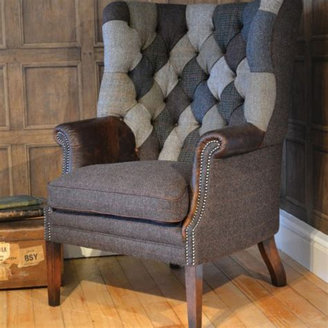 the chairman upholstery tetrad upholstery mackensie harris tweed chair patchwork
