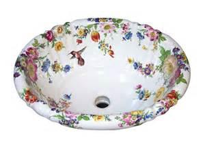 floral bathroom sinks scented garden hummingbird painted sink jpg
