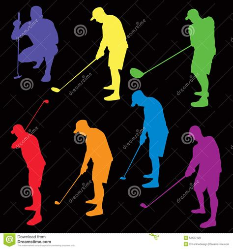 colorful golf colorful golf silhouettes illustration stock vector