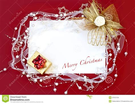 christmas card with decoration on red background stock