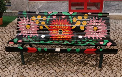 colorful indoor benches flowers daisies flower daisy painted park bench