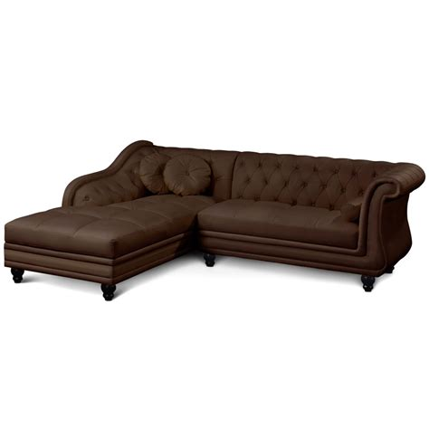 canap 233 d angle droit simili marron chesterfield