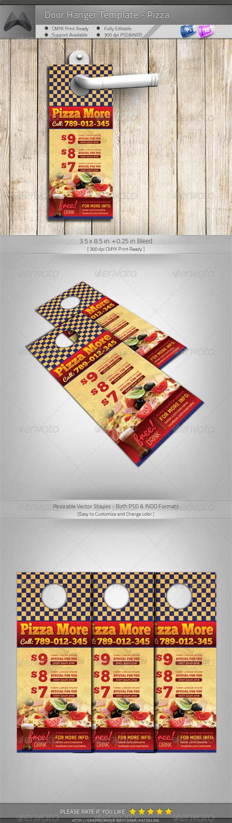 restaurant door hanger template door hanger pizza more graphicriver