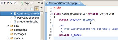 yii set layout in controller yiiclipse homepage code navigation