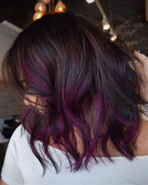 black stacked bob with purple balayage 4 most exciting shades of brown hair purple balayage