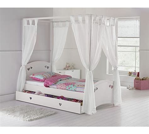 Buy Collection Mia Single 4 Poster Bed Frame White At Single Four Poster Bed Frame