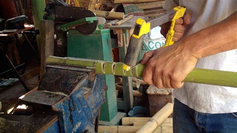 making  bamboo fish mouth joint bamboo crafts bamboo