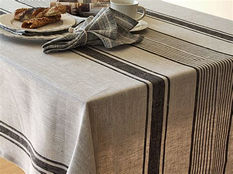 Linen Table Cloth by Tablecloths Black Striped Linen Tablecloth