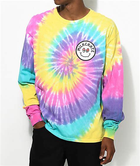 milkcrate smiles sleeve pastel tie dye t shirt zumiez