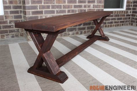 bench diy plans diy x brace bench free easy plans rogue engineer