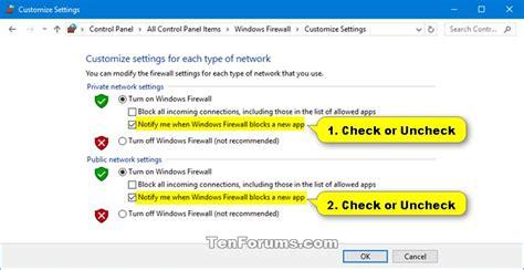 windows 10 firewall tutorial turn on or off windows defender firewall notifications in