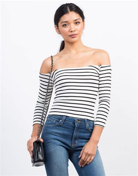 Stripe Top striped the shoulder top ribbed the shoulder top