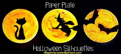 Witch Halloween Crafts - halloween paper plate silhouette crafts the pinterested parent