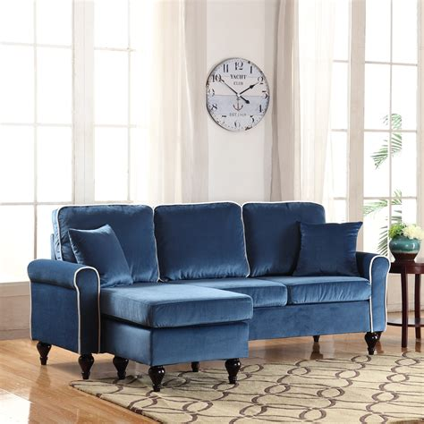 Velvet Sectional Sofa With Chaise Traditional Small Space Blue Velvet Sectional Sofa With Reversible Chaise Ebay