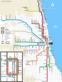 Chicago Line Map by L Train Chicago Map