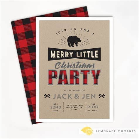 My Favorite Christmas Invitations And Christmas Cards Catch My Party Buffalo Plaid Invitation Template